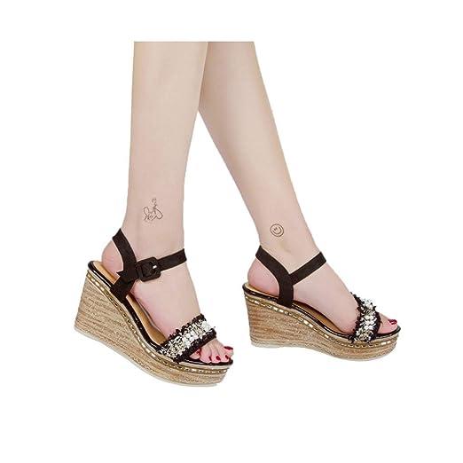 5fa69232929 Amazon.com: Vedhika Women High Heel Wedge Sandals Pearl Thick Bottom ...