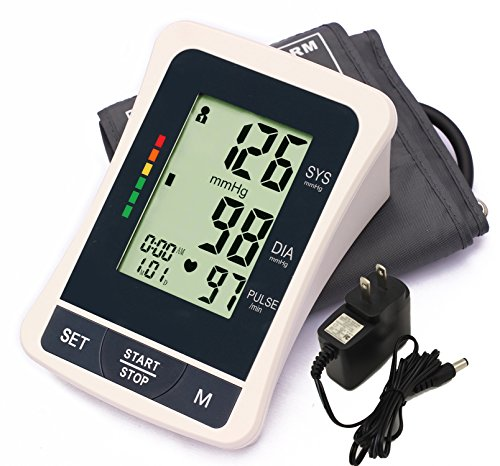 LotFancy Blood Pressure Monitor Machine with Upper Arm Large BP Cuff and AC Adapter, Accurate Portable Sphygmomanometer for Home Use, FDA Approved (L Cuff 11.8-16.5 Inches) (Large Bp Monitor)