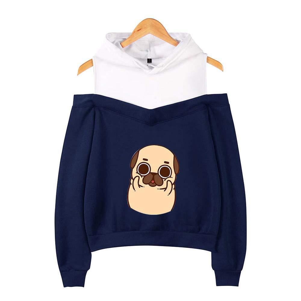 Aierwen Pugs Cartoon Print Women Long Sleeve Off The Shoulder Hoodies Patchwork Pullover