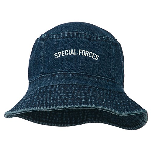 e4Hats.com Special Forces Embroidered Bucket Hat - Denim -