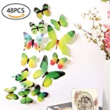 3D Butterfly Wall Stickers Decals - 48 PCS 3D Butterfly Removable Mural Stickers Wall Stickers Decal for Home and Room Decoration by FIXBODY- (Green)