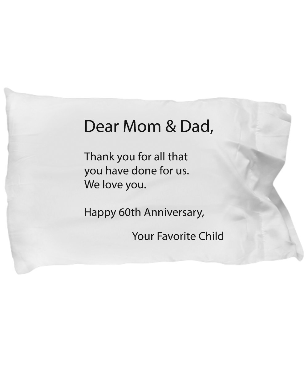 DesiDD 60th Anniversary Gifts for Parents - 60 Wedding Anniversary Gift for Parents - Dad and Mom Present from Kids, Daughter, Son - White Pillow Case