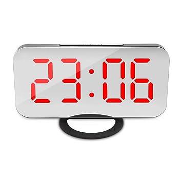 EbuyChX LED Reloj Despertador Digital Espejo Posponer Luz de Noche de Escritorio Cuatro Colores Rojo: Amazon.es: Hogar