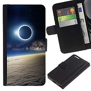 Billetera de Cuero Caso Titular de la tarjeta Carcasa Funda para Apple Iphone 6 PLUS 5.5 / Space Planet Galaxy Stars 51 / STRONG