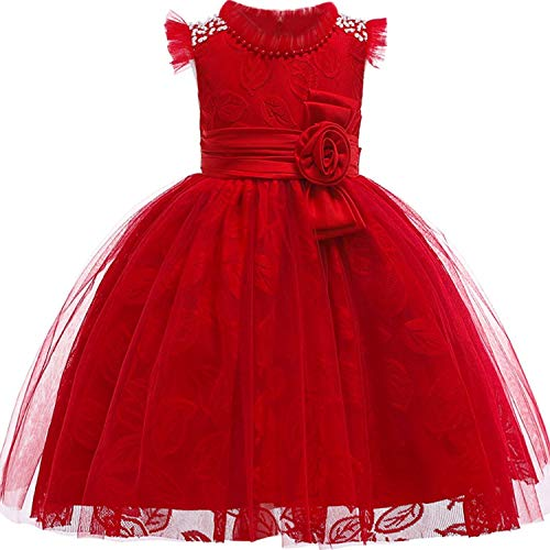 Baby Girls 3D Flower Embroidery Silk Princess Dress for Wedding Party Kids -