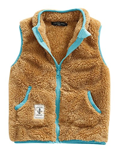 Girl Waistcoat Vogue Polar Fleece Warm Winter Stand Collar Zipper Up Sleeveless Jacket Vest 7-8T (Fleece Warm Up Jacket Coat)