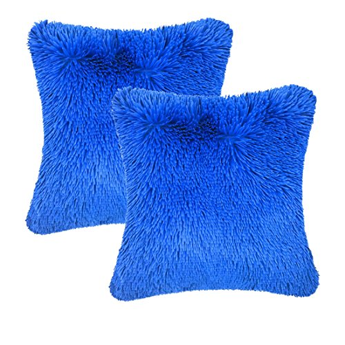 Throw it Super Fluffy Soft Cozy Silky Hand Feeling Plush Fuzzy Faux Fur Square Throw Pillow Case Shaggy Cover 18