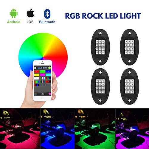 RGB LED Rock Lights Bluetooth Control, ZUULLEN 12V 20W Multicolor Neon LED Light Kits, IP68 Waterproof Timing Function Music Mode, for JEEP Off Road Truck Car ATV SUV Motorcycle (4Pcs Packed)