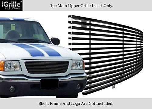 03 Ford Ranger Billet Grille - APS Compatible with 01-03 Ford Ranger XLT XL 2WD Stainless Steel Black Billet Grille Insert F85325J