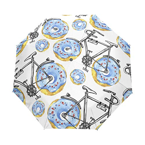 senya Bicycles With Donuts Wheels Umbrella Windproof Rain Automatic Open Close Folding Travel Anti-UV Sun Umbrellas by senya