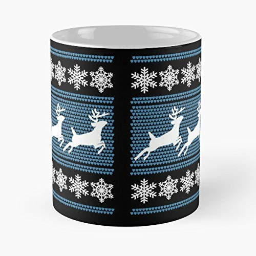 Ugly Christmas Sweater Reindeer T Shirt Ungly Winter - Morning Coffee Mug Ceramic Best Gift 11 Oz