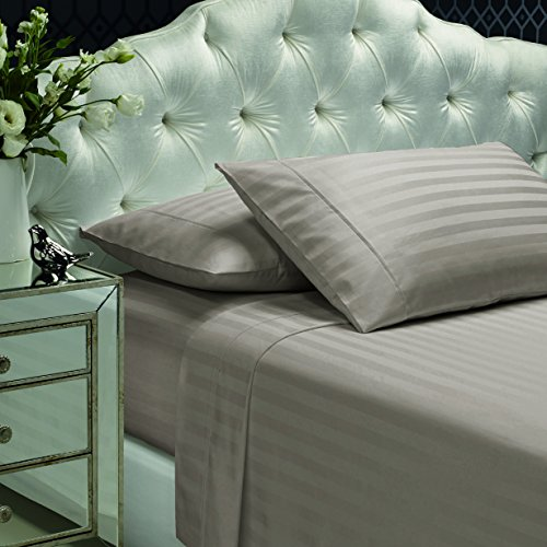 300 Thread Count 100% Cotton Sheet Set, Stripe Sheets, Soft Sateen Weave,King Sheets, Deep Pockets,Hotel Collection,Luxury Bedding-Bestseller- Super Sale 100% Cotton,Hazlenut by Dream Castle (Home Bedding Sale)