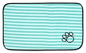 DII Bone Dry Stripe Embroidered Paw Print Pet Mat for Food, Water, Treats in Microfiber for Maximum Absorbency, Green