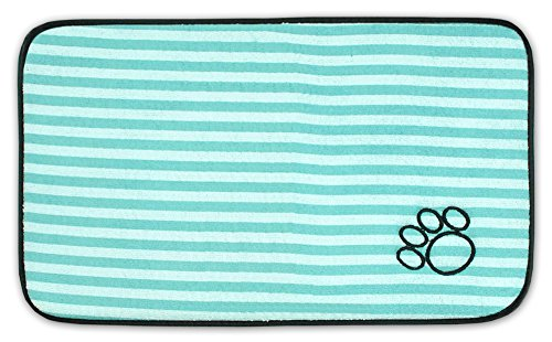 Bone Dry DII Stripe Embroidered Paw Print Pet Mat for Food, Water, Treats in Microfiber for Maximum Absorbency, Green