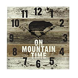 Young's FBA_17240 On Mountain Time Bear Wooden Wall Clock with Hands, 12 x 2 x 12