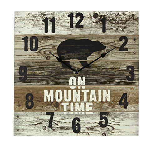 Young's FBA_17240 On Mountain Time Bear Wooden Wall Clock with Hands, 12