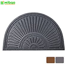 """Mibao Large Half Round Welcome Mat Durable Entrance Mat Shoes Scraper Outdoor Rug Low Profile Design for Front Door , 24"""" x 36"""" ( Gray )"""