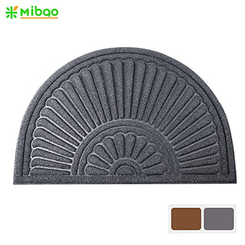 Mibao Large Half Round Welcome Mat Durable Entrance Mat Shoes Scraper Outdoor Rug Low Profile Design for Front Door , 24