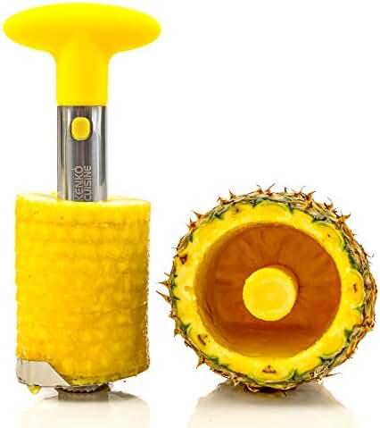 Kenko Cuisine Pineapple Corer, 3-in-1 Stainless Steel Slicer and Peeler, Yellow.