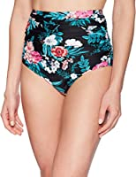 Coastal Blue Women's Swimwear Shirred High Waist Bikini Bottom, Jaded/Ebony Floral Print, XS (0-2)