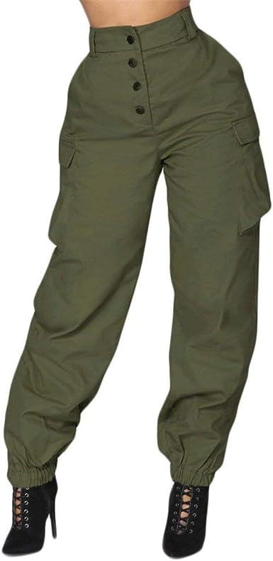 Mujer Pantalon Cargo Fashion Modernas Pantalones Casual Alta Anchas Cintura De Tiempo Libre Elegantes Vintage Comodo Unicolor Con Bolsillos Pantalones Harem Pantalones De Jogging Amazon Es Ropa Y Accesorios