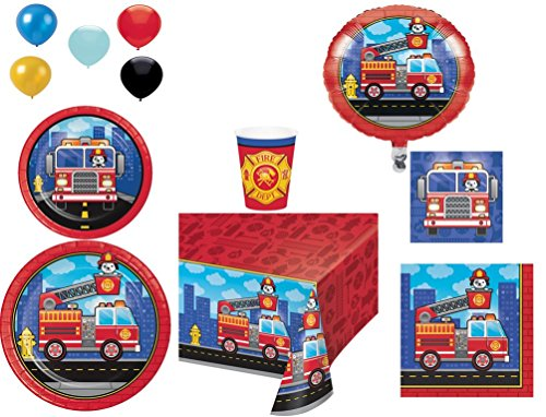 Disposable Plates/Napkins/Cups/Tablecloth/Balloons Flaming Fire truck Party Pack, 8-Piece Bundle -