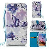 3D Wallet Case for Samsung Galaxy S6,Aoucase Slim Fancy Painted Durable Magnetic PU Leather Card Slot Soft inner Kicstand Strap Flip Case with Black Dual-use Pen - Butterfly Flower