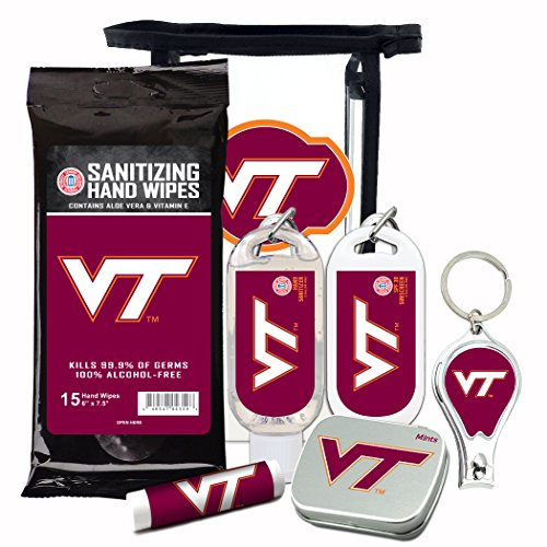 (Virginia Tech Hokies 6-Piece Fan Kit with Decorative Mint Tin, Nail Clippers, Hand Sanitizer, SPF 15 Lip Balm, SPF 30 Sunscreen, Sanitizer Wipes. NCAA Gifts for Men and Women)
