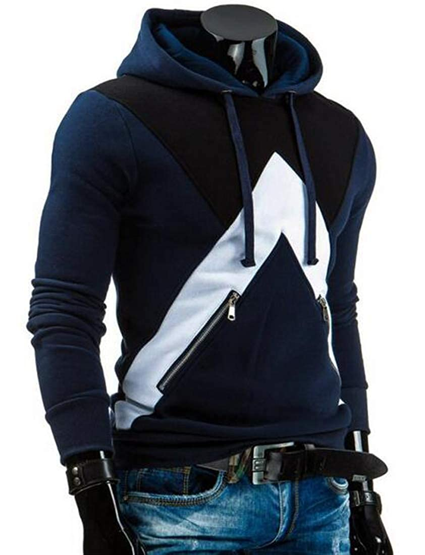 CMCYY Mens Hooded Pullover Zipper Up Spell Color Sweatshirts Jacket