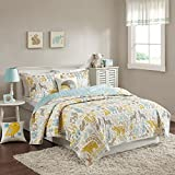 INK+IVY Kids Woodland Twin Girls Boys Kids Quilt Set - Yellow Aqua, Animal – 3 Piece Kids Bedding Set – Cotton Quilt Sets Coverlet