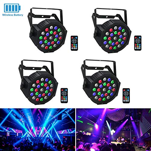 Wireless Stage Lights Package, LaluceNatz 24LEDs RGBW Battery Par Light Battery Power Playing 6-15 Hours Controlled by IR Remote DMX and Sound Activated for Wedding Church Stage Lighting(4pcs) -