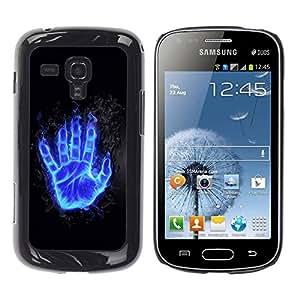 Caucho caso de Shell duro de la cubierta de accesorios de protección BY RAYDREAMMM - Samsung Galaxy S Duos S7562 - Flaming Blue Hand