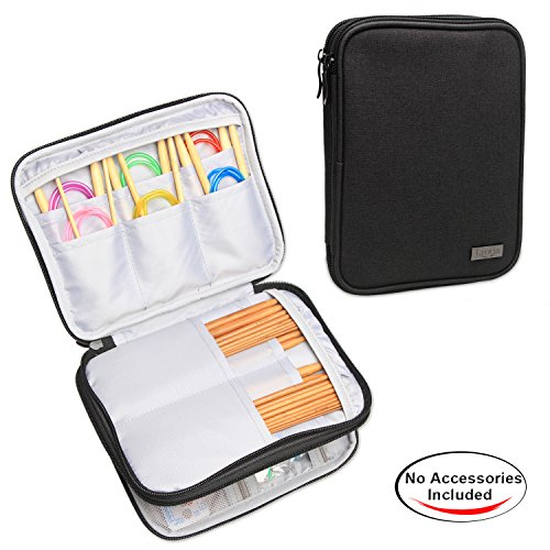 Luxja Knitting Needles Case(up to 8 Inches), Travel Organizer Storage Bag for Circular Needles, 8 Inches Knitting Needles and Other Accessories(NO ACCESSORIES INCLUDED), Black
