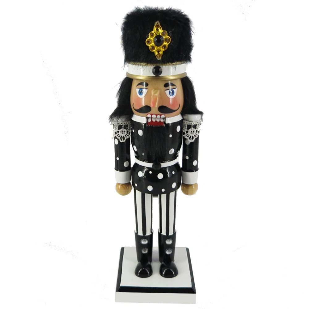 Christmas Holiday Wooden Nutcracker Figure with Traditional Black and White Uniform Jacket, Black Boots, and Fur Hat with Stripes and Polka Dot Rhinestone Sparkle Details Large, 10 Inch