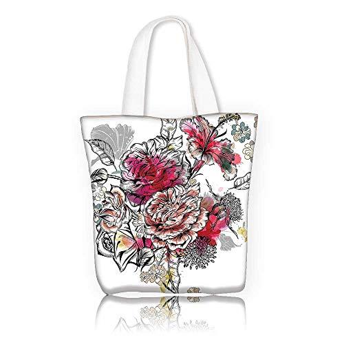 Women's Canvas Tote Bag —W17.7 x H14 x D7 INCH/reusable shopping bag handbag Print Design Floral Romantic Rose Petals Bouquet Bridal Wedding Themed Nostalgic Blooms in Mixed Colors Multicolor