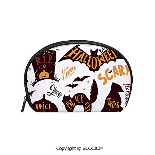 SCOCICI Printed Small Travel Toiletry Cosmetic Pouch Halloween Symbols Trick or Treat Bat Tombstone Candy Scary Decorative Handy Daily Storage Makeup Bag