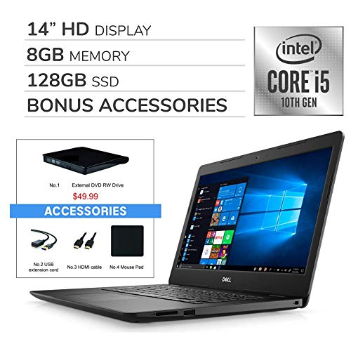 Dell Inspiron 2020 14″ HD Laptop Computer, 4-Core Intel i5-1035G4 up to 3.7 GHz, Iris Plus Graphics, 8GB RAM, 128GB SSD, Webcam,Bluetooth,Wi-Fi,HDMI, Win 10 S, VAATE External DVD+ Accessories