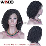 WINBO 8A Jeri Curl 130% Density Lace Front Wig Black Color Hair Full Lace Wig Pre Pluck Hair Line Baby Hair Wig (12 inch, Full Lace Wig)