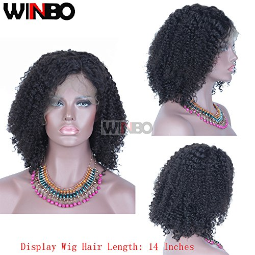 WINBO 8A Jeri Curl 130% Density Lace Front Wig Black Color Hair Full Lace Wig Pre Pluck Hair Line Baby Hair Wig (12 inch, Full Lace Wig) by Winbo