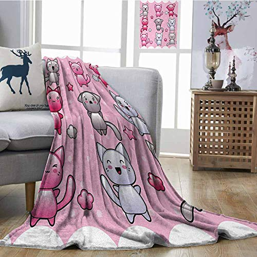 Soft Blanket Anime for Kids Cute Kitty Doodles with Emotions Funny Animal Theme Japanese Art Print Elegant and Comfortable W60 xL91 Pink Blue Purple]()