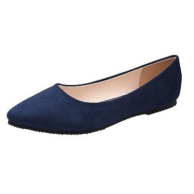 aa07d9ba1a6 Meeshine Women's Classic Pointy Toe Ballet Flat Comfort Soft Suede  Ballerina Slip On Flats Shoes(