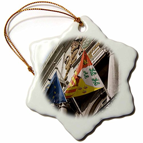 3dRose orn_81063_1 Flags, Hotel de Villa, City Hall, Brussels, Belgium EU04 WSU0027 William Sutton Snowflake Porcelain Ornament, 3-Inch by 3dRose (Image #1)