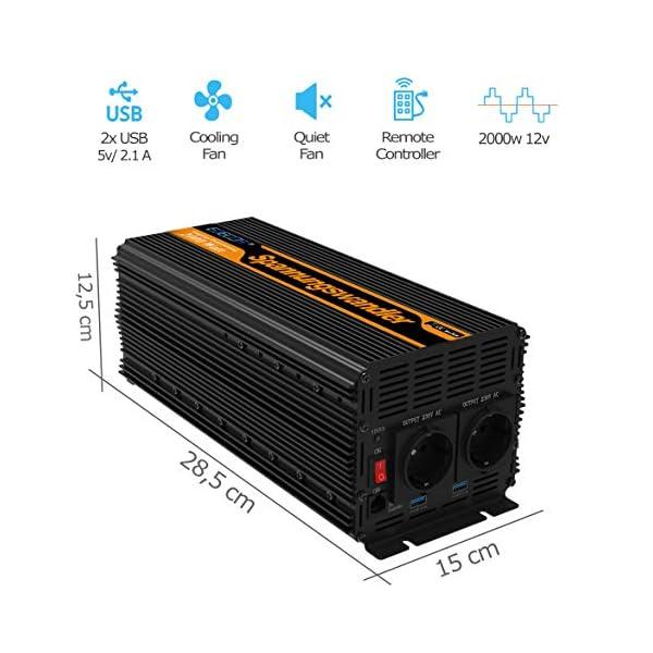 51lmAKoN9gL EDECOA Spannungswandler 2000W Modifizierte Sinus Wechselrichter 12V 230V 2x USB und Fernbedienung wechselrichter…