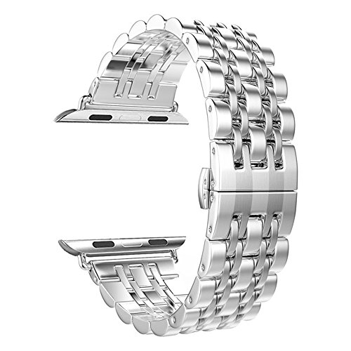 - Leefrei Stainless Steel Watch Band Replacement Strap Compatible Apple Watch Series 3 Series 2 Series 1 38mm - Silver