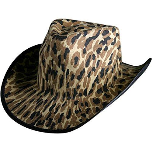 [Adult Leopard Cowboy Halloween Costume Hat] (Leopard Cowboy Hat)