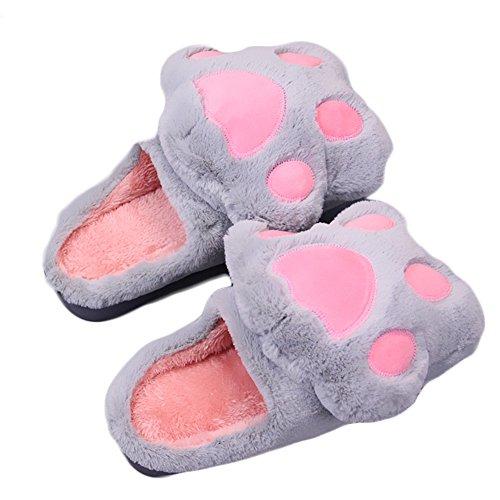 Cbling Winter Warm Indoor Slipper Soft Cute Cartoon Peluche Casa Scarpe Antiscivolo Suola Spessa Gray1