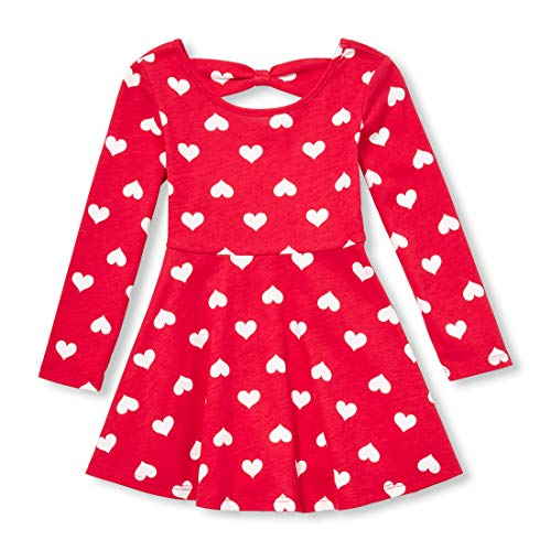 The Children's Place Toddler Girls' Long Sleeve Pleated Dress, Ruby, 18-24MONTH