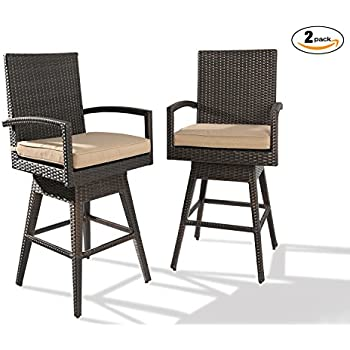 Ulax Furniture 2Pack Outdoor Patio Furniture All Weather Brown Wicker  Swivel Bar Stool With Cushion