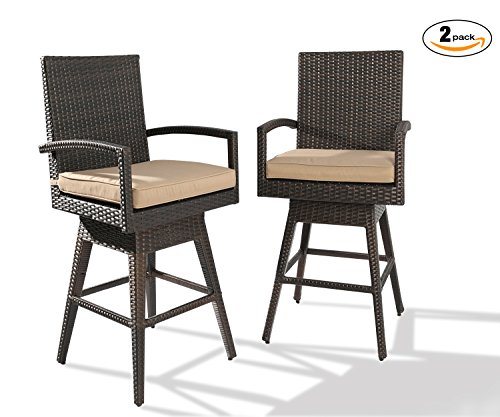 Ulax furniture 2Pack Outdoor Patio Furniture All-Weather Brown Wicker Swivel Bar Stool with (Height All Weather Wicker)