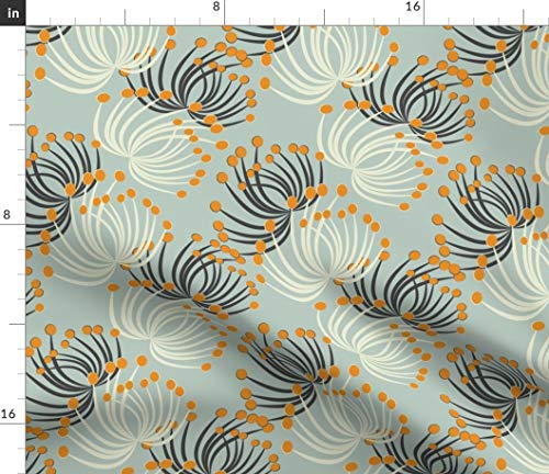 Floating Dandelion Fabric - Retro Flower Home Decor Plant Mod Floral Modern Nursery Imaginary Palette Print on Fabric by The Yard - Velvet for Upholstery Home Decor Bottomweight -
